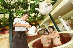 If you want to relax, let's enjoy a cup of tea! How? @ Hakone Kowakien Yunessun ★ Afternoon tea bath: Until 1/11, 2016 #yunessun #hakone #japankuru #japan #cooljapan#100tokyo #tokyo #travel #trip #hotspring #kowakien