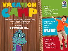 Invita a tus amiguitos al Vacation Camp! iniciamos este 12 de Octubre!