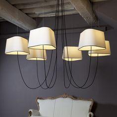 DesignHeure PETIT NUAGE - Lustre 6 Lumières Blanc/Noir Ø94cm