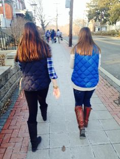 Flannel & Monogramed Vests with Walking Boots = Perfect Fall Attire