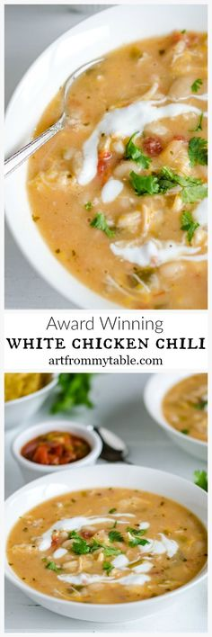 Easiest Ever White Chicken Chili ~ Slow Cooker Style ~ Your Spoon is Waiting Tender chunks of chicken, creamy white beans, cheesy broth, and just the right amount of heat. It's the easiest chili recipe you'll ever make! Breakout that crock pot! Slow Cooker Chili, Slow Cooker Recipes, Crockpot Recipes, Soup Recipes, Chicken Recipes, Dinner Recipes, Cooking Recipes, Healthy Recipes, Kale Recipes