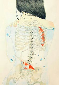 Ribcage with koi fish