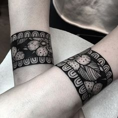 WEBSTA @ domwileyart - A pair of bracelets for Chloe, Thankyou!  Done using supplies from @tattoosuppliesuk  #blackwork #blackworkers #blackworkerssubmission #btattooing #blacktattooart #blacktattoo #darkartists #taot #skinartmag #tattooistartmag #tattoodo #uktattoo