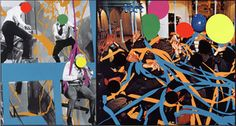 Fissures   (Orange)   and     Ribbons   (Orange, Blue): With Multiple Figures (Red, Green, Yellow), Plus Single Figure (Yellow) in Harness (Violet) and Balloons (Violet, Red, Yellow, Grey),  2004  ©John Baldessari