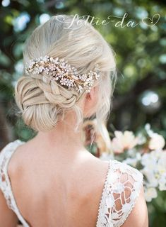 Wedding Updo with Boho Gold Flower Leaf Hair Vine Bridal Hair comb / http://www.deerpearlflowers.com/wedding-hairstyles-and-bridal-wedding-accessories/