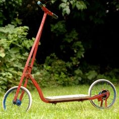 "My first wheels as a small child: a vintage Children's Scooter. Loved it. I'd ""scoot"" for hours up and down the sidewalk. mg"