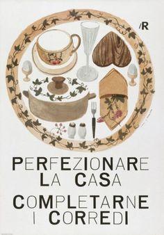 By Lora Lamm (born 1928), 1960, Perfezionare la casa, La Rinascente. (I) #poster #food #illustration