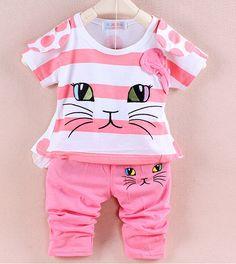 Varejo 2 pcs / set 2014 set novo estilo de roupa menina moda verão conjuntos de roupa + calça bebê meninas Olá Kitty impressão camisa dos miúdos em Coletes de Bebê - Meninas de Roupas & acessórios no AliExpress.com
