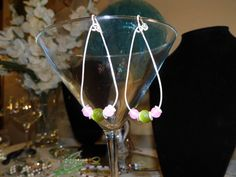 Pink and Green Dangle Earrings Sterling Silver by TheEccentricBead