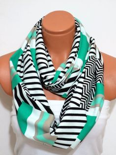 Infinity Scarf Chevron Print Circle Loop Scarf Women's Fashion Accessories Valentine's Day Gifts for Her Aqua, mint,Black
