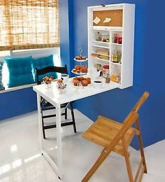 Foldable #kitchen bar table #storage shelves breakfast office desk pc #white wood,  View more on the LINK: http://www.zeppy.io/product/gb/2/282076109756/