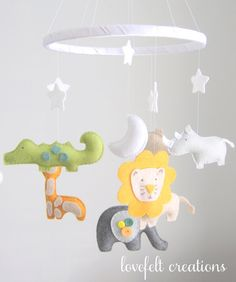 Baby Crib Mobile Jungle Mobile Baby Mobile by LoveFeltXoXo