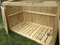 Build your own trash can storage shed! This tutorial covers all of the information to get you going and offers a set of plans to complete your own build. Trash Can Storage Outdoor, Outdoor Trash Cans, Outside Storage, Hide Trash Cans, Trash And Recycling Bin, Trash Bins, Garbage Can Shed, Garbage Can Storage, Storage Shed Plans