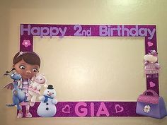 Photo Booth Frame To Take Pictures Doc Mcstuffins Birthday Happy 2nd Birthday, 4th Birthday Parties, 1st Birthdays, Birthday Ideas, Birthday Favors, Doc Mcstuffins Birthday Party, Party Frame, Photo Booth Frame, Photo Booths