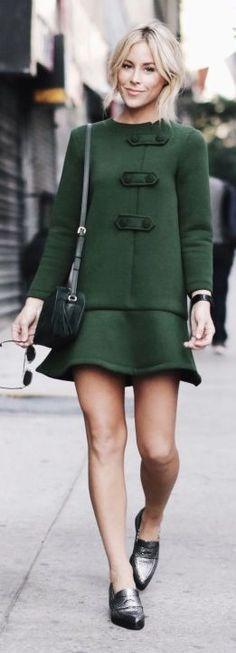 Flounce Hem Green Dress Fall Inspo by Happily Grey