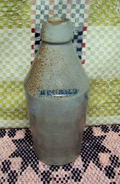 Vintage Salt Glazed Bottle marked M C Heald Original Cork   Free Ship