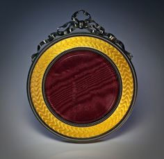 Antique Faberge miniature yellow guilloche enamel  picture frame. Made in St. Petersburg between 1908 and 1917