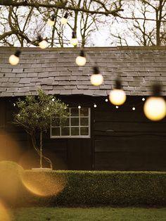 Solar Powered Festoon Fairy Lights, 50 Warm White LEDs, 10 Clear Bulbs, - New ideas String Lights Outdoor, Outdoor Lighting, Wedding Lighting, Lighting Ideas, Kew Gardens, Outdoor Gardens, Ar Fresco, Le Shop, Cox And Cox