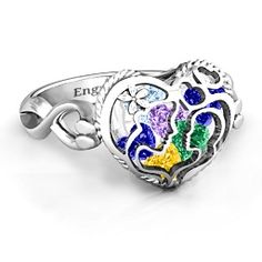 Mother and Child Caged Hearts Ring with Infinity Band