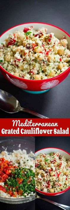Mediterranean Grated Cauliflower Salad with Chickpeas…This vegan recipe is surprisingly filling, and every mouthful is full of flavor! Plus, it's full of nutrients. 270 calories and 3 Weight Watchers Freestyle SP #cleaneating