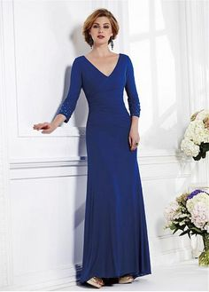 Elegant Chiffon V-neck Floor-length Sheath Mother Of The Bride Dress
