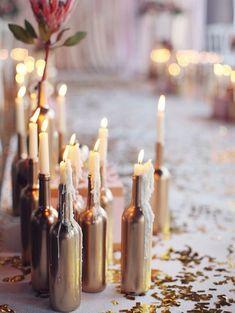 DIY: goud geverfde flessen   ELLE