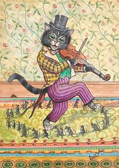 Louis William Wain) (1860-1939)   — A Cat Playing a Fiddle  (638x900)