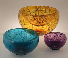 """Birds Nest Bubble Bowl""  Art Glass Bowl created by Viscosity Glass on Artful Home"