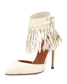 Illusion Fringe Ankle-Wrap Pump, Ivory by Valentino at Neiman Marcus.