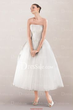 Lovely Strapless Ruched Tea-length Wedding Dress with Beautiful Appliques and Flaring Tulle Skirt