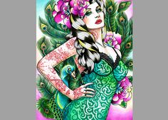 8x10 in Signed Art Print - Tattooed Peacock PinUp. Starting at $1 on Tophatter.com!