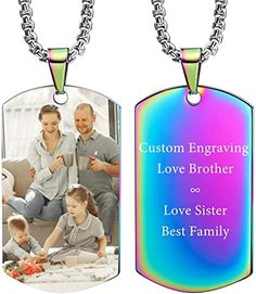 VIBOOS Custom Dog Tag Pendant Necklace Engraving Date/Text/Pictures Stainless Steel Personalized Necklace for Men Women Boys Girls Bundle with Adjustable Chain, Keychain, Silencer.