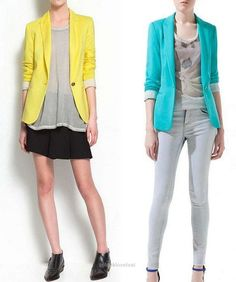 Yellow blazer and teal blazer with neutral pants!