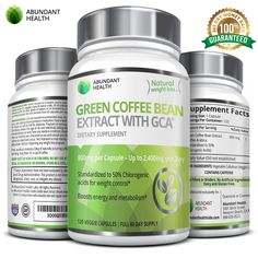 Abundant Health Green Coffee Bean Extract with GCA for Weight Control, 120 Veggie Capsules > You will love this! More info @ : Garcinia cambogia