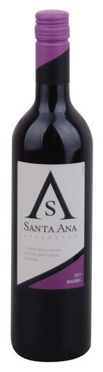 In stock - 4,95 € 2013 Santa Ana Malbec, red dry , Argentine - 85pt Incredibly full of Malbec! Classic representative of Argentina at a great price. Aroma of berries and dark chocolate with a fine tannin finish. Once opened, you will soften and it becomes a good companion to a more manageable beef.