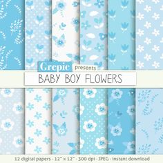 SALE 50% Baby boy digital paper: Baby boy flowers baby by Grepic