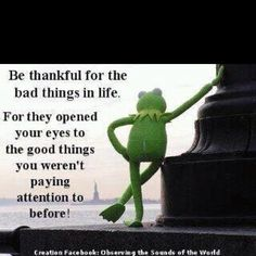 Be thankful for the bad things in life...for they opened your eyes to the good things you weren't paying attention to before!