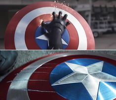 """In Captain America: Civil War, you can see that the only marks on Steve's shield are from Black Panther because both the shield and his claws are made of vibranium. 21 Details From Marvel Movies That'll Make You Say, """"How Did I Not Notice That? Nick Fury, Bruce Banner, Steve Rogers, Disney Marvel, Marvel Dc, Marvel Funny, Thor Comic Book, Amazing Fantasy 15, Captain America Shield"""