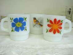 Three Vintage 1970's Fire King Flower Power and Birds Stackable Coffee Mugs