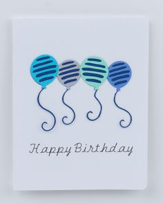 Happy Birthday 4 Balloons Blues & Gray