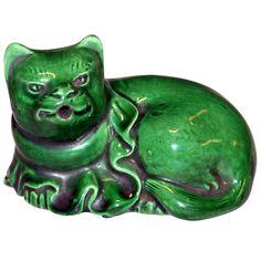 Antique Awaji water dropper in cat form. Japan, c1880.