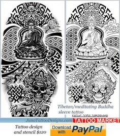 Molde tibetano do tatuagem, tatuagem de buddha para o braço, modelo do tatuagem da luva