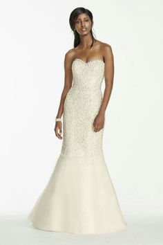 Sassy Strapless Trumpet Gown With Beading Throughout Bodice & Embellished Sweetheart Neckline; Galina Signature Collection For David's Bridal>>>>>>>>>>>>>>>>>>>>