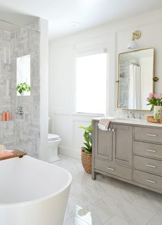 Our Master Bathroom: Before & Afters Plus A Budget Breakdown! Master Bathroom Layout, Modern Master Bathroom, Big Bathrooms, Bathroom Renos, Bathroom Renovations, Bathroom Wainscotting, Master Baths, White Bathroom, Young House Love