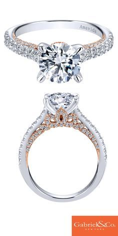 Present the love of your life with an amazing engagement ring that is unlike the rest. This 18k white and rose gold diamond straight contemporary engagement ring is something a bride-to-be can fall in love with. Discover this perfect engagement ring or customize your own on our website.