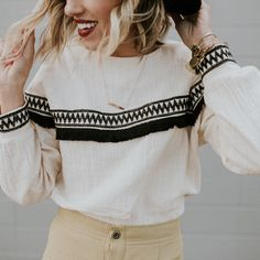 Long Sleeve Embroidered Top | ROOLEE