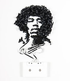 Incredible Celebrity Portraits Made Out Of Cassette Tapes by Erika Iris Simmons