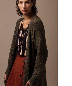 Maxi cárdigan de punto jaspeado Maxi Cardigan, Boutique, Blouse, Long Sleeve, Sleeves, Women, Fashion, Dots, Clothing