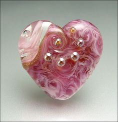 ROSE BOUQUET - Pink Heart Focal Bead | by Beads by Stephanie
