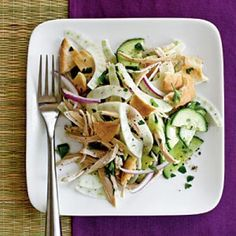 Pita Salad with Cucumber, Fennel, and Chicken Recipes | CookingLight.com